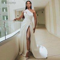 Ivory Evening Dresses 2022 One Shoulder Side Split Sweep Train Pleats Satin Long Formal Women Prom Party Gowns vestidos de fiesta Celebrity Gown