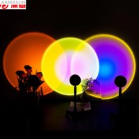 Rainbow Sunset Projector Night Sunset Lamp Projector Atmosphere Led Night Light Home Coffe Shop Background Wall Decoration Colorful Lamp