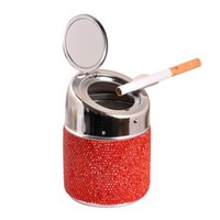 Luxury Crystal Rhinestones Car ashtray Cup Holder Metal Bling Bling Auto Ashtrays For Women Portable Car Interior Accessories 1834 V2