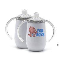 Em branco 10oz sublimação canecas de copo de sippy canecas diy de aço inoxidável bebê frasco de leite com punho crianças bebendo copo para presentes marítimo de mar hhd7998
