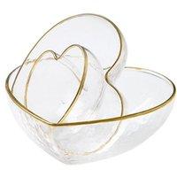 Tasse de bol en verre en forme de coeur Golden Bord de cristal transparent Petit déjeuner E5BB Bols