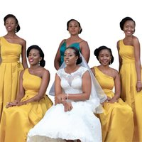 Yellow Satin One Shoulder Bridesmaids Dresses African Women Draped A-line Wedding Dress As Guest Formal Evening Party Gowns