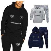 Brand Homme Two Pieces Sets Hooded Tracksuit Men women Sportswear Gyms Black Hoodies+sweatpants Bananas Joggers Sweatshirts