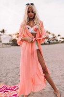 Boho Kimnon Dress Coverup Swimwear Sexy Swimsuit Cover Up Women Chiffon Cover Ups Pareos Playa Mujer 2020 Beach Dress X0715