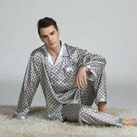 Pigiama di seta stampata da uomo primavera estate manica lunga set di grandi dimensioni Home Wear 6 Style Retro Stampa Pigiama da uomo
