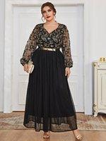 Plus Size Dresses Ethnic Dress Abaya For Women V Neck Lone Sleeve Modest Muslim Arabic Clothes CN(Origin) Office Lady