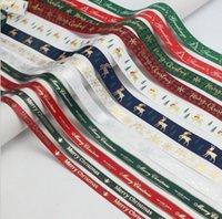 Christmas Ribbons for Gifts Xmas Grosgrain Polyester Satin Fabric Ribbon for Xmas Gift Wrapping Hair Bows Making Craft Sewing 100yd