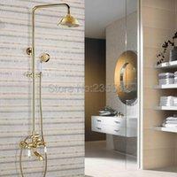 Banheiro cor dourada latão 8.2 polegadas chuveiro chuveiro torneira de chuva conjunto com tapete de banheira de clawfoot toque lgf373 conjuntos