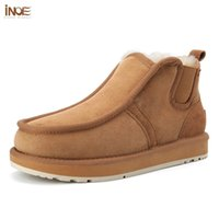 INOE Real Sheepskin Suede Leather Men Sheep Wool Fur Lined Winter Short Ankle Snow Boots With Zipper Keep Warm Shoes Waterproof 211023
