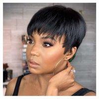 Tinashe 아름다움 짧은 밥가 발가 가발 줌 컷 브라질 인간의 머리 가발 레미 전체 만주인 여성을위한 저렴한 붉은 갈색 210630