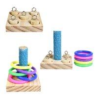 Птицы попугая деревянные платформы пластиковые кольца разведывательные тренировки жевать головоломки игрушечные блок Pet образовательные подарки