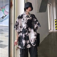Women's Blouses & Shirts Harajuku Punk Gothic Black Blouse Top Women Tie Dye Korean Oversize Vintage Loose Casual Streetwear Clothes 2021