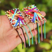 Hoop & Huggie SAY Hello Bohemian Pure Handmade Charm Dangle Stud Earring For Women Fashion Party Jewelry