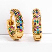 Rainbow Diamond stud earrings jewelry network red tide womens clip Zircon ear buckle Crystal earring for lady gold silver plated women New styles wholesale Alloy