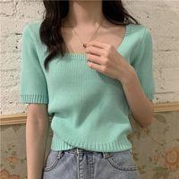 Women's T-Shirt Design Sense Niche Girl Short Top Women Solid Ice Silk Knit Sweater Thin Short-sleeved Womens Blouses And Tops