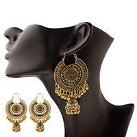 Orecchini indiani Jhumka Donne Boemia Etnica in metallo oro in metallo Grandi campane lungo penzolanti orecchini d'attaccatura Egitto gioielli Gypsy