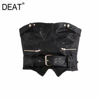 [DEAT] Summer New Fashion Tide Tops Slash Neck Black Sleeveless Temperament Personality Women's PU Leather T-shirt 13C160 210430