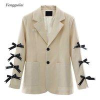 Kadın Takım Elbise Blazers Kadın Moda Zarif Tasarlanmış Papyon Blazer Sonbahar Tek Göğüslü Retro İnce Ceketler Vintage Ofis Bayan Workwear