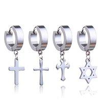 Stud Ear Studs Earrings Stainless Steel Ring Jewelry Decoration 2021 Winter Black Tassels Cross Unisex For Women And Men Kpop