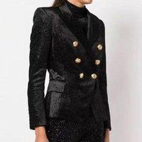 Women's Suits & Blazers 2021 Winter Women Black Luxury Sequins Blazer Coat Runway Designer Double Breasted Gold Buttons Ladies Party Overcoa