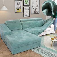 Velvet Peluche L a forma di sofà per soggiorno Mobili elastici Couch Slipcover Chaise Longue Angolo Divano Cover Stretch 210317