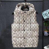 2021 디자이너의 새로운 가을 겨울 남성용 조끼 인쇄 편지 디자인 느슨한 캐주얼 후드 및 두꺼운 민소매 코트 패션 따뜻한 M-4XL