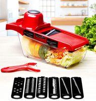 DHL Mandolin Slicer Gemüsemesser und Werkzeug Edelstahlklinge Küchenfrucht Manuelle Kartoffelschäler Karotte Shredder Dicing Machine Sechs Funktionen CJ08 FY4672