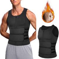Männer Body Shaper Sauna Weste Taille Trainer Doppel Gürtel Sweat Shirt Korsett Bauch Abnehmen Shapewear Fat Burn Fitness Top