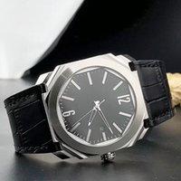 2019 NOVO 42mm Data de Octo 101964 Dial Preto Quartzo / Mens Automático Assista Caso De Prata Caixa De Couro Alta Qualidade Relógios de Relógios de Alta Qualidade