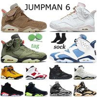 Tênis de basquete feminino Nike Air Jordan Retro 6 Travis Scott Jumpman 6 6s 2021 Carmine Cactus Jack Quai 54 Cinza Fumo Preto Tênis infravermelho 36-47