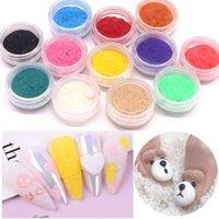 Nail Glitter 1pcs sammet pulver mode konst plysch matteffekt godis färg pigment flocking för naglar diy dekoration