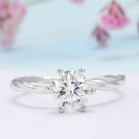 Veryins Twist Band GRA Certificated 100% Sterling Silver S925 Moissanite Engagement Ring for Women Wedding Anniversary Gift