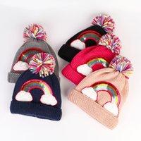 Baby Toddler rainbow Knit Beanie Hats Girls Boys Warm Winter Fur Pom Hat Crochet Ski Ball Caps Christmas Halloween Gifts