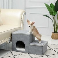 Pet ladder 2 in 1, dog ramp, portable family with luxury house, cat, detachable non slip bed J0602