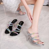 Sandals 2021 Summer Designer Women's Fashion Woman Pumps Sexy Crystal Clear Shoes Slippers Lady Transparent High Heels