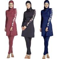 Donne di grandi dimensioni stampate floreale floreale copertura intera costumi da bagno musulmani donne costume da bagno islamica costume da bagno costume da bagno hijab beachwear bagno suit 210323