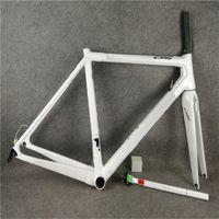 Tüm Beyaz C64 Bisiklet Çerçeve Frameset Parlak Tam Karbon Yol Bisiklet Çerçevesi DI2 ve Mekanik Her ikisi de