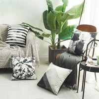 Kudde / dekorativ kudde imitation silke kasta kuddar fall för soffa stol bil kinesisk bläck målning geometrisk designer vit kuddehölje h