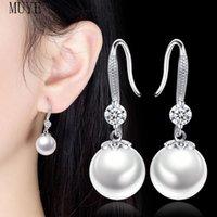 Dangle & Chandelier MUYE Real 925 Sterling Silver 12mm Pearl Zircon Drop Earrings For Women's Girl's Fashion Elegant Fine Jewelry Party Gift