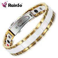 Браслеты очарования Rainso Элегантные белые керамические женские браслеты для женщин голограмма магнитная терапия леди германиевые украшения ORB-227