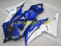 Kit de carénage d'injection ABS Kit de carénage pour Yamaha Yzfr6 YZF R6 2008 2009 2010 2012 2013 2013 2015-2016 2014 08 09 10 11 12 13 14 15 16 Consommation personnalisée Carrosserie Blanc Bleu GHJ