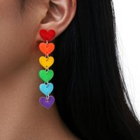 European And American Jewelry With Rainbow Red Orange Yellow Green Blue Purple Six Color Acrylic Tassel Heart Shaped Earrings Stud