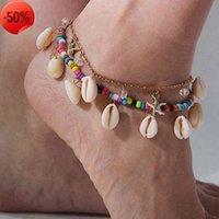 Joyería estrella playa geométrica decoración de pie estilo nacional color arroz bead shell multicapa tobillera hembra
