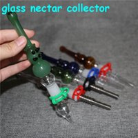hookahs Glass NC Kit with Quartz Tips Dab Straw Oil Rigs Silicone Smoking Pipe rig ash catcher