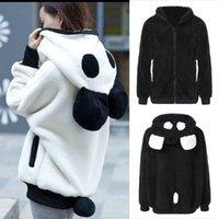 Women's Hoodies & Sweatshirts Women Coats Cute Bear Ear Panda Autumn Winter Warm Plush Hoodie Coat Jacket Outerwear Overcoat Fashion 2021