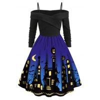 EE. UU. Vestidos casuales Halloween Dark City XL Vestidos para mujer Señoras Cómodas Partido suelto Holiday Show Fiesta de manga larga Suministros