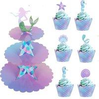 Ake decorando suprimentos 3 camada sereia bolo stand titulares de cupcake sereia decorações de aniversário cupcake wrappers para bebê chuveiro casamento p ...