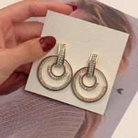 Arrival Metal Hyperbole Round Crystal Earing Women Dangle Earrings Fashion Female Korean Simple Jewelry Circle Hoop & Huggie