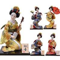 Myblue 30cm Kawaii Japanese Anime Geisha Kimono Doll Japanese House Decorative Figurine Home Room Decoration Accessories Mordern Q0525