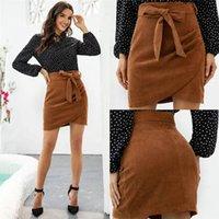 Mulheres designer saias marrom cor com cinto de arco saias casuais irregular lateral pressione uma saia de passo